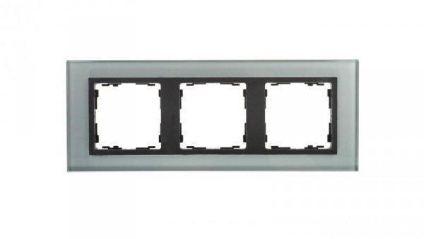 Simon 82 Ramka potrójna szklana szara/ ramka pośrednia grafit 82837-35