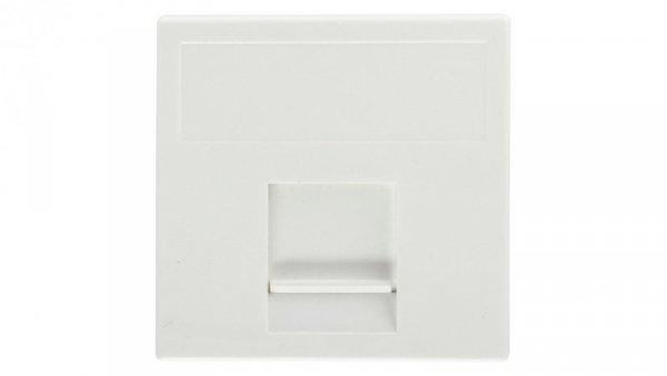 Simon Connect Płytka K45 gniazda teleinformatycznego pojedynczego 1xRJ płaska z przesłoną czysta biel K76/9