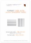 ulotka 2xDL składana do DL, druk pełnokolorowy obustronny 4+4, na papierze kredowym, 170 g, 250 sztuk