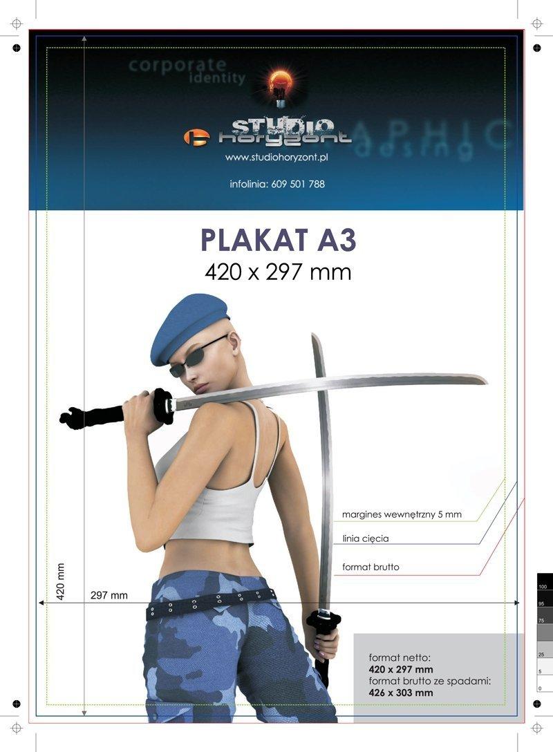 Plakat A3 Druk Pełnokolorowy Jednostronny 40 Na Papierze Kredowym 250 G Tryb Ekspres 5 Sztuk