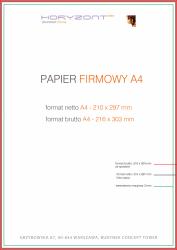 papier firmowy A4, druk pełnokolorowy obustronny 4+4, na papierze offset / preprint 90 g - 10 000 sztuk