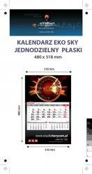Kalendarz jednodzielny Eko Sky, płaski, druk jednostronny kolorowy (4+0), Folia błysk jednostronnie, Podkład - Karton 300 g, okienko czerwone - 900 sztuk