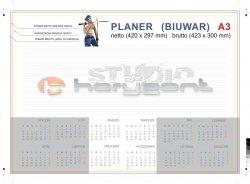 planer na biurko A3 - 26 kart, druk jednostronny pełnokolorowy 4+0, offset 90g, klejony - 300 sztuk