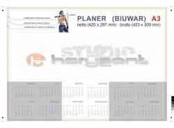 planer na biurko A3 - 26 kart, druk jednostronny pełnokolorowy 4+0, offset 90g, klejony - 200 sztuk