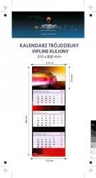 Kalendarz trójdzielny VIP LINE klejony - główka - karton Alaska 250 g, foliowana błysk, całość 310 x 830 mm, druk pełnokolorowy, 3 oddzielne kalendaria 290 x 145 mm, okienko - 600 sztuk
