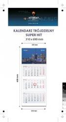 Kalendarz trójdzielny SUPER HIT - całość na Kartonie Alaska 250 g, 310 x 690 mm, Druk jednostronny kolorowy 4+0 CMYK, 3 oddzielne kalendaria, 290 x 145 mm, czerwono - czarne, okienko osobno - 900 sztuk