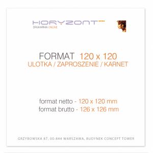 ulotka 120 x 120 mm, druk pełnokolorowy obustronny 4+4, na papierze kredowym, 170 g, 100 sztuk