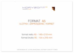 zaproszenie A5  - 148 x 210 mm, druk dwustronny, kreda 350 g, bez folii 50 sztuk
