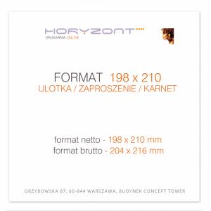 ulotka 198 x 210 mm, druk pełnokolorowy obustronny 4+4, na papierze kredowym, 250 g, 250 sztuk