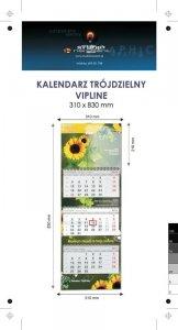 Kalendarz trójdzielny spiralowany VIP LINE z wypukłą główką, bez koperty - druk jednostronny kolorowy (4+0) Karton Alaska 250 g, Folia błysk jednostronnie, 310 x 830 mm, Spiralowany, 3 bloki kalendarium, 290 x 145 mm, okienko - 700 szt.