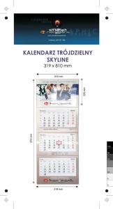 Kalendarz trójdzielny SKYLINE, z wypukłą główką, bez koperty, druk jednostronny kolorowy (4+0), główka kaszerowana + folia błysk, podkład z lakierem dyspersyjnym, główka - kreda mat 300 g, podkład - karton 300 g, 3 bloki kalendarium, okienko - 300 szt.