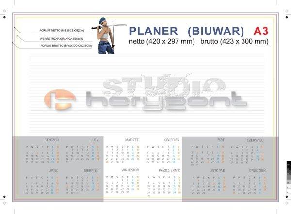 Podkład na biurko - biuwar A3 - 420 x 297 mm, offset 80g + karton na spód, 4+0, 26 kart, klejenie dolnej krawędzi - 300 sztuk