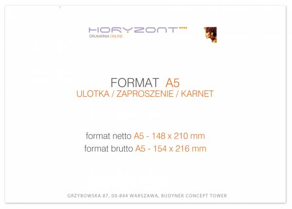 ulotka A5, druk pełnokolorowy obustronny 4+4, na papierze kredowym 130 g, 2000 sztuk