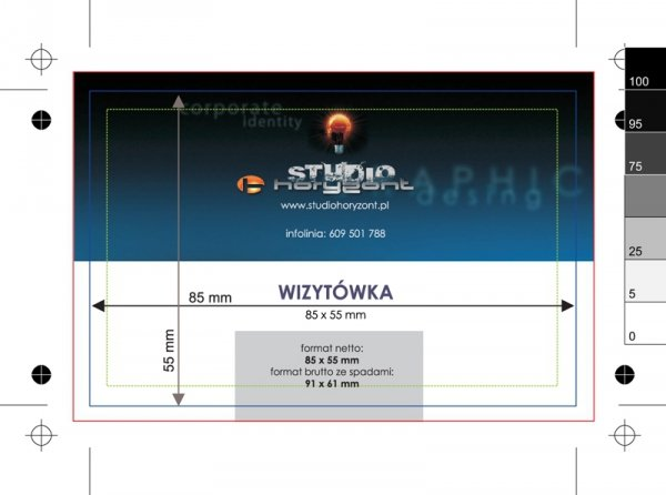 wizytówki foliowane Soft Skin z lakierem wybiórczym UV, druk dwustronny pełnokolorowy 4+4, papier kredowy 350 g mat, 500 sztuk
