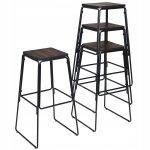 Zestaw industrialnych stołków barowych 4 szt.