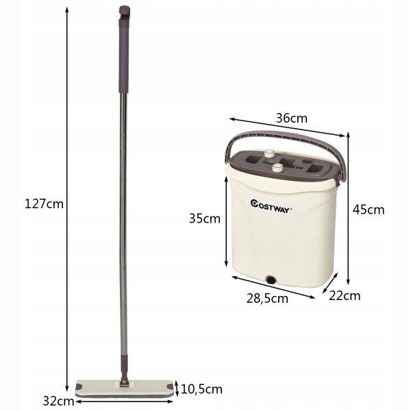 Mop płaski wiadro z wyciskaczem 2 wkłady