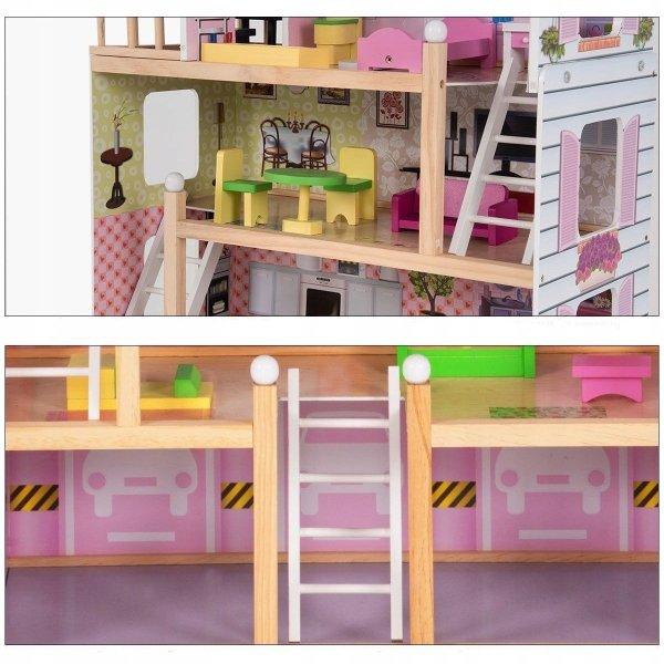 Drewniany domek dla lalek z balkonem i meblami