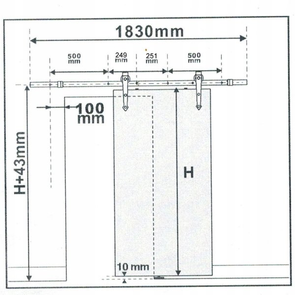 Szyna uchwyty do mocowania drzwi przesuwnych 183cm