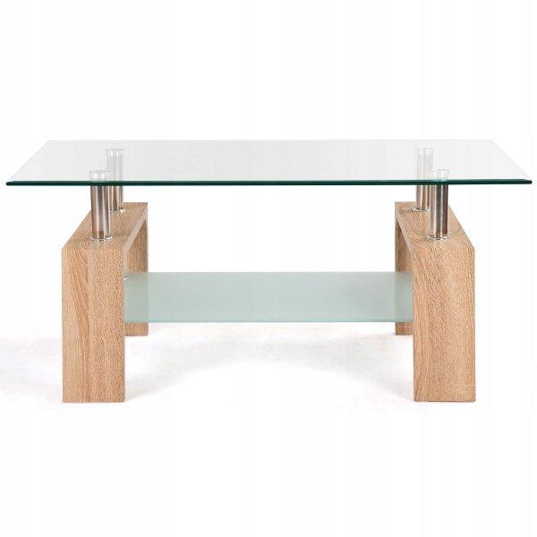 Szklany stolik kawowy ława z półką