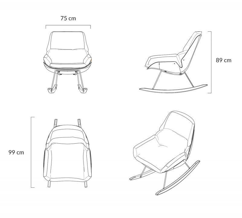 Fotel bujany NINO ciemno szary - tkanina ciemno szara, płozy bukowe