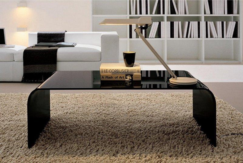 Stolik szklany FORMANOVA BLACK czarny - szkło lakierowane
