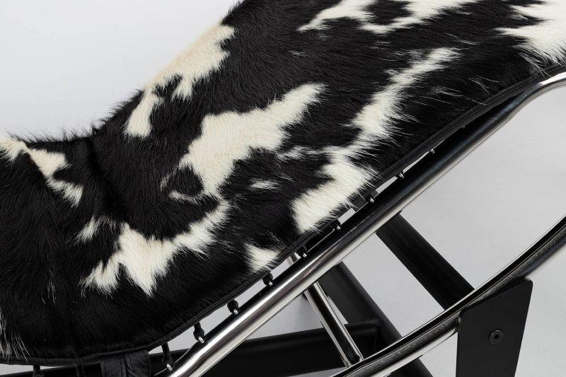 Leżanka DIVANO PONY czarno biała - skóra naturalna, chrom