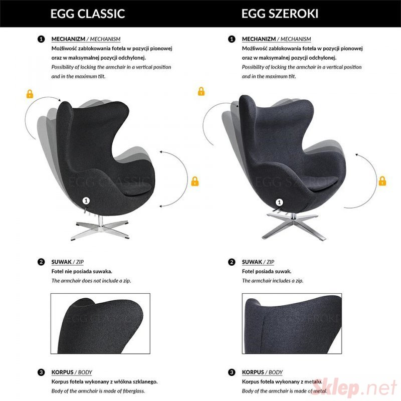 Fotel EGG CLASSIC VELVET BLACK granatowy - welur, podstawa czarna