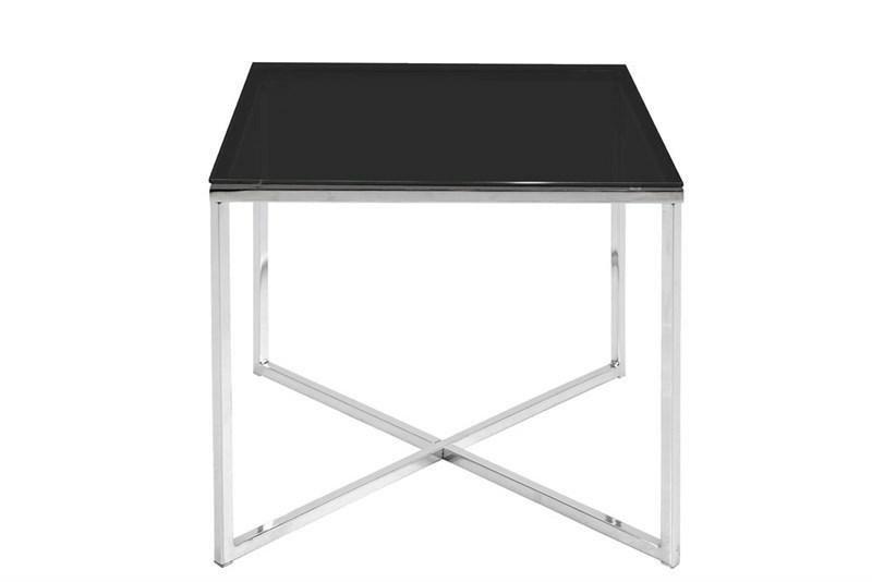 ACTONA stolik kawowy CROSS SQUARE czarny - szkło, chrom