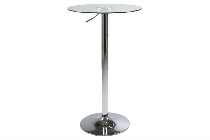 ACTONA stolik barowy NIDO GLASS - regulacja wysokości, szkło, chrom