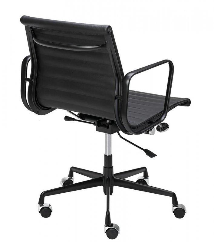 Fotel biurowy BODY PRESTIGE PLUS czarny - skóra naturalna, aluminium