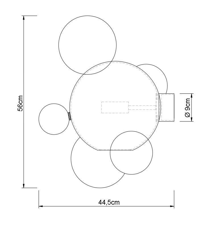 Kinkiet CAPRI WALL 6 złoty - 60 LED, aluminium, szkło