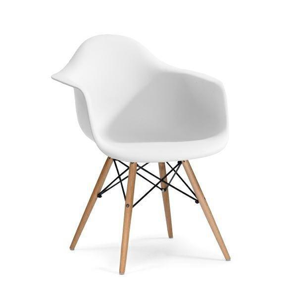 Fotel DAW biały.01 - polipropylen, podstawa bukowa