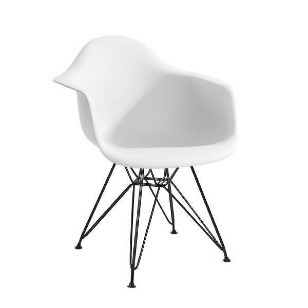 Fotel DAR BLACK biały.01 - polipropylen, podstawa czarna