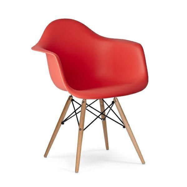 Fotel DAW krwista czerwień.06 - polipropylen, podstawa bukowa