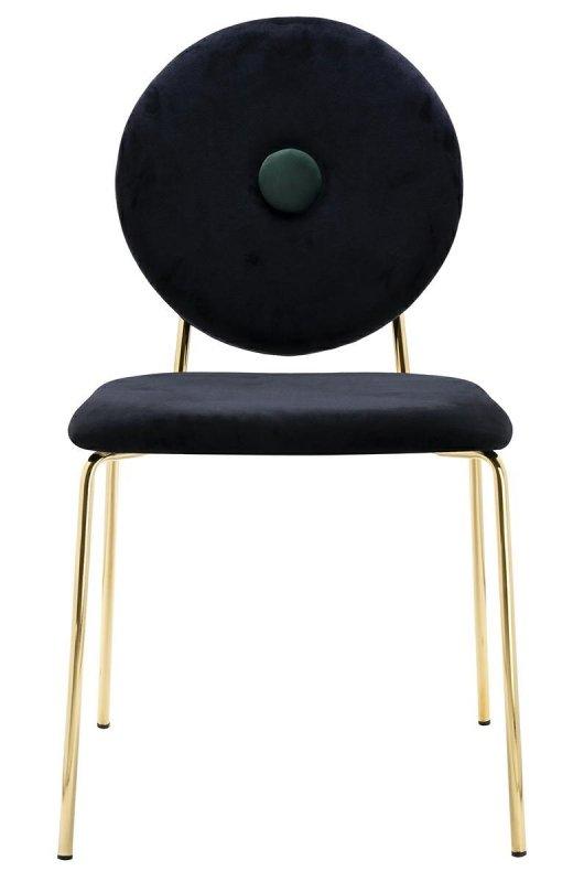 Krzesło BAROCCO czarne - welur, podstawa złota