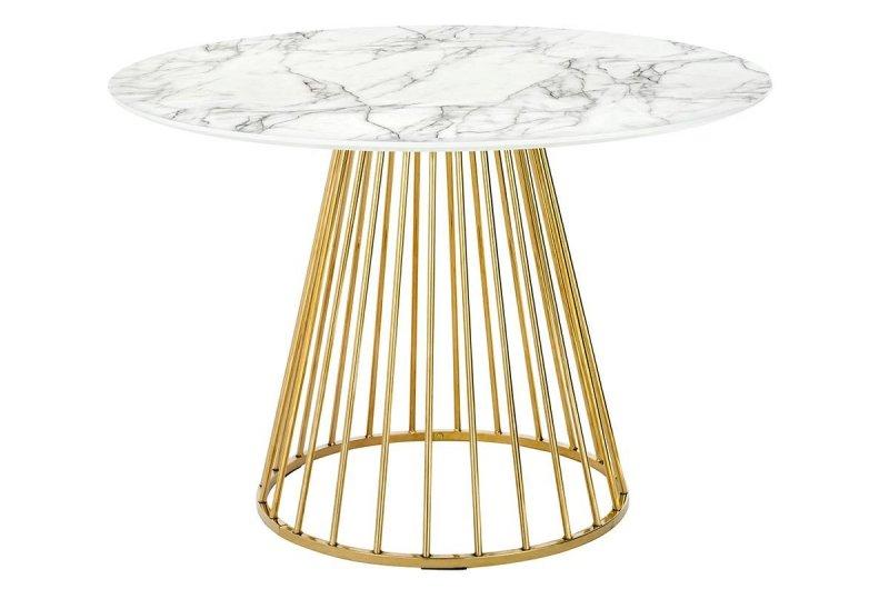 Stół GLAM MARBLE 110 - MDF, złota podstawa