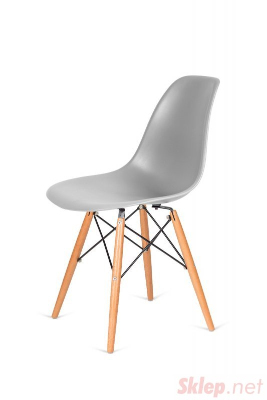 Krzesło DSW WOOD jasny szary.05 - polipropylen, podstawa bukowa