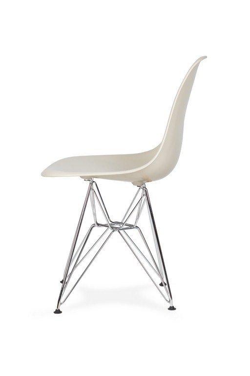Krzesło DSR SILVER migdał pralinowy.29 - podstawa metalowa chromowana