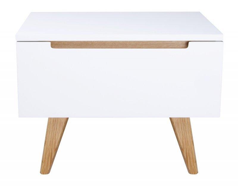 Szafka PURE biała - szuflada, wykończenie dębowe
