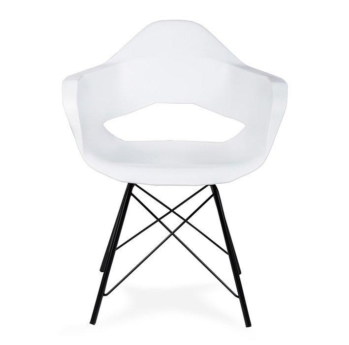 Fotel GULAR DSM biały - polipropylen, podstawa metalowa czarna