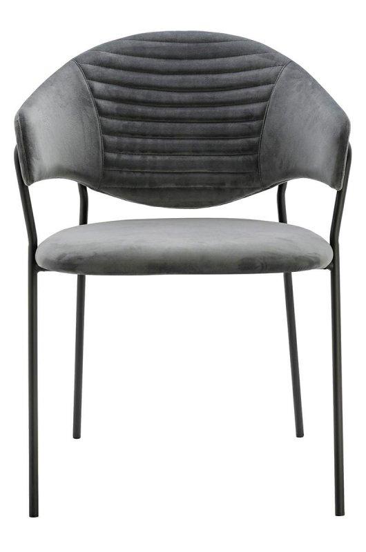 Fotel NAOMI ciemny szary - welur, podstawa czarna