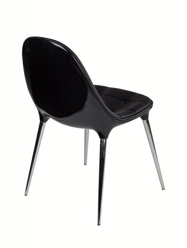 Krzesło PASSION ekoskóra czarno-czarne - włókno szklane, nogi chromowane