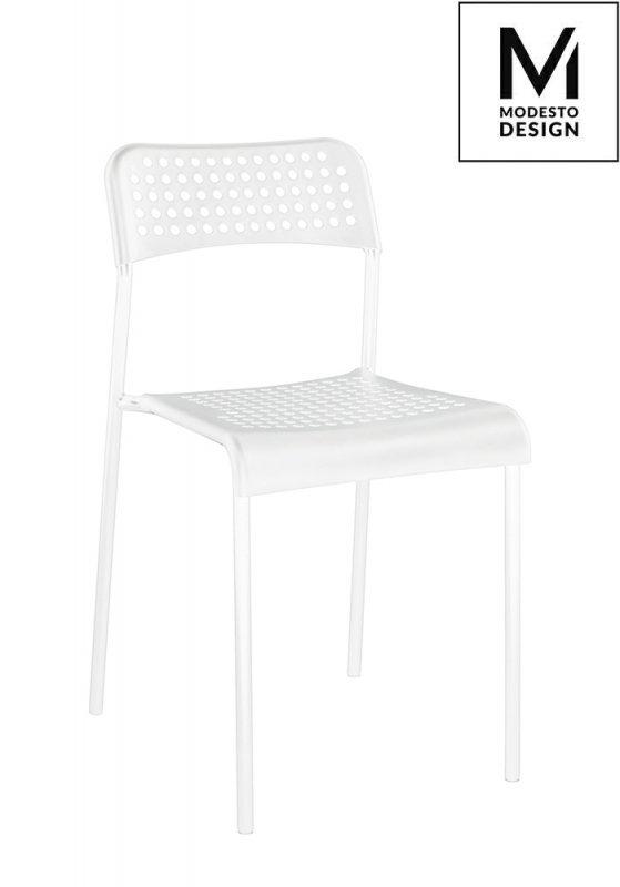 MODESTO krzesło DAVIS białe - polipropylen, metal