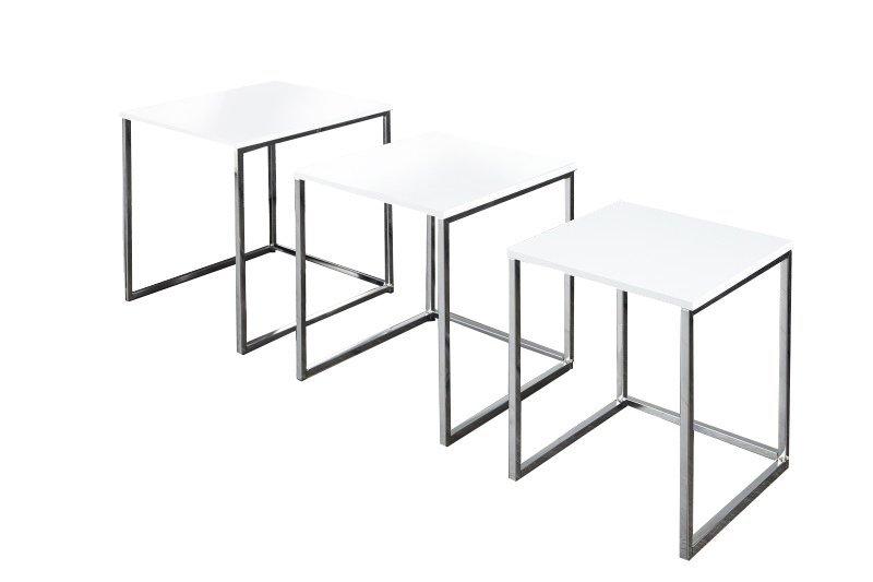 INVICTA zestaw stolików NEW ELEMENTS - białe, podstawa chromowana