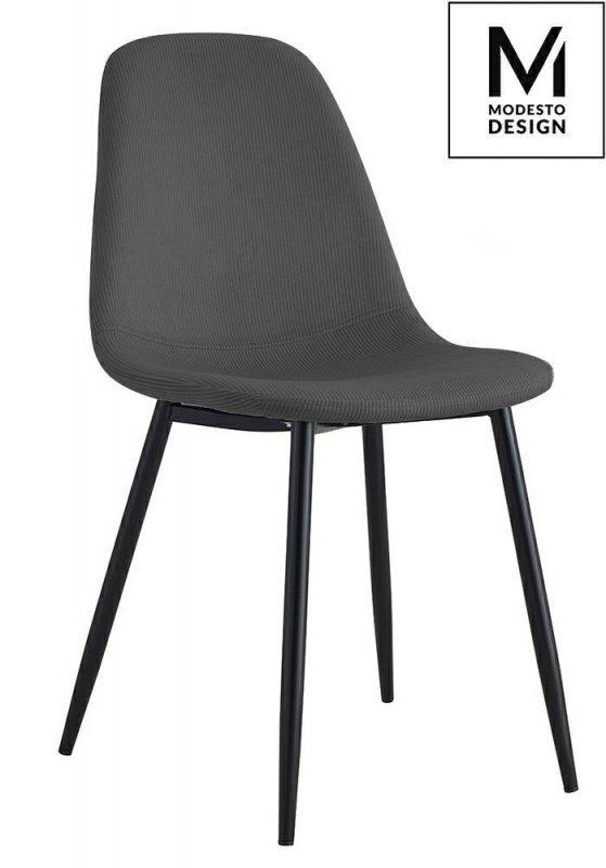 MODESTO krzesło LUCY szare - welur, metal