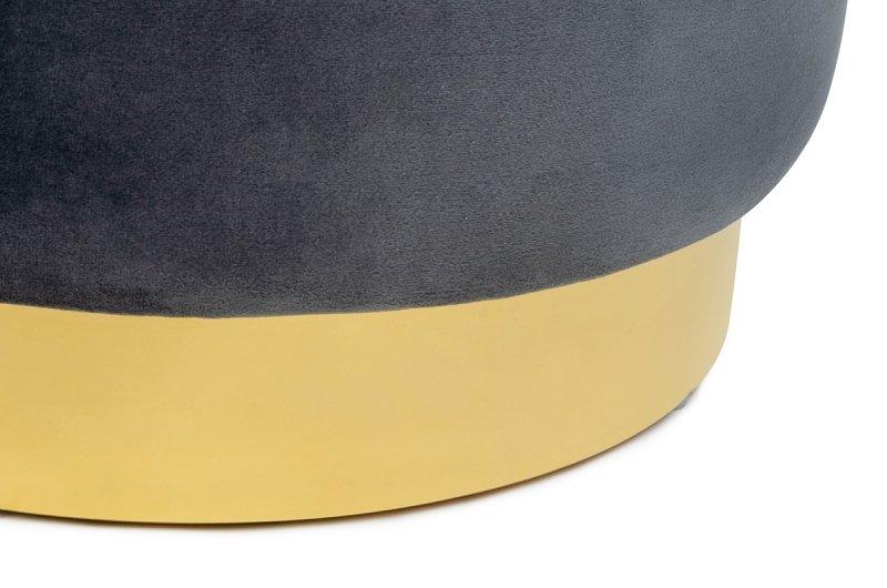 Pufa MARGO ciemny szary - welur, podstawa złota
