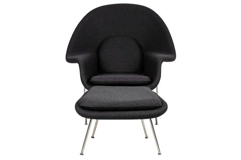 Fotel COZY z podnóżkiem, grafitowy szary .4- wełna kaszmirowa, stal polerowana
