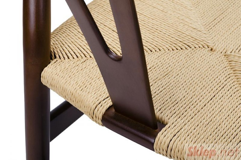 Krzesło WISHBONE ciemny brąz - drewno bukowe, naturalne włókno