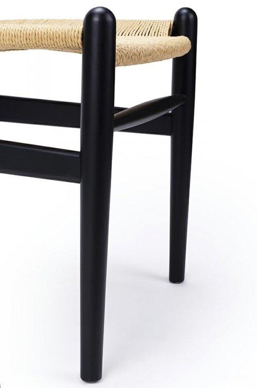 Krzesło WISHBONE czarne - drewno bukowe, naturalne włókno