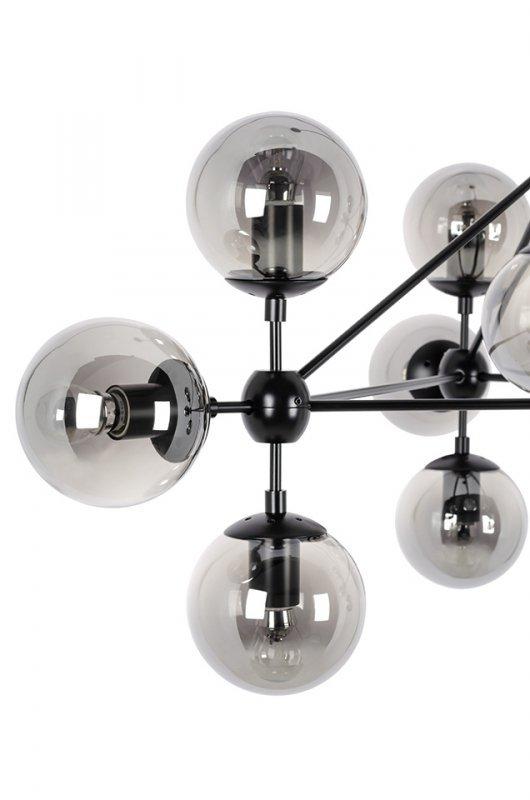 Lampa wisząca PLANETARIO 10 czarna - klosze dymione